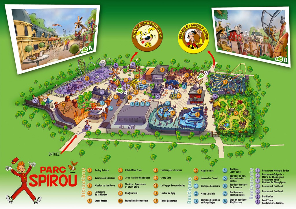 Parc Spirou : plan des attractions