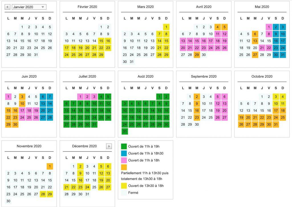dates et horaires d'ouverture récré des 3 curés 2020