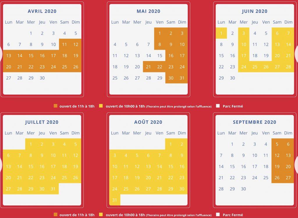 Dates d'ouverture dennlys parc et horaires 2020