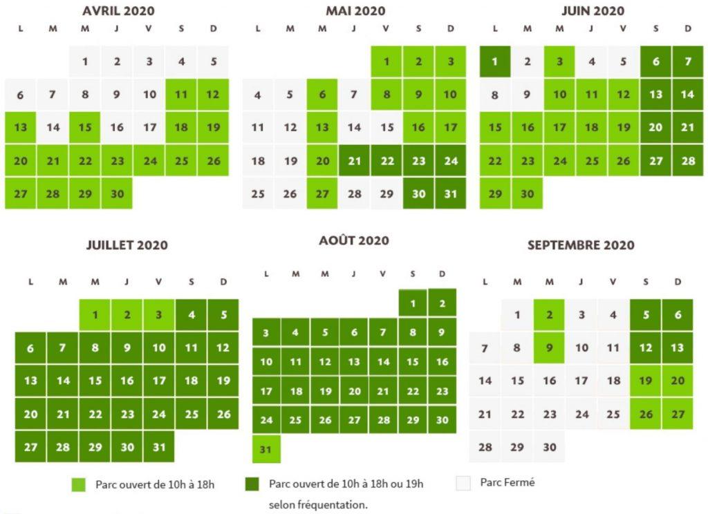 Calendrier des dates d'ouverture du parc Le Pal