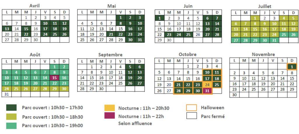 date d'ouverture et calendrier 2020 Walygator
