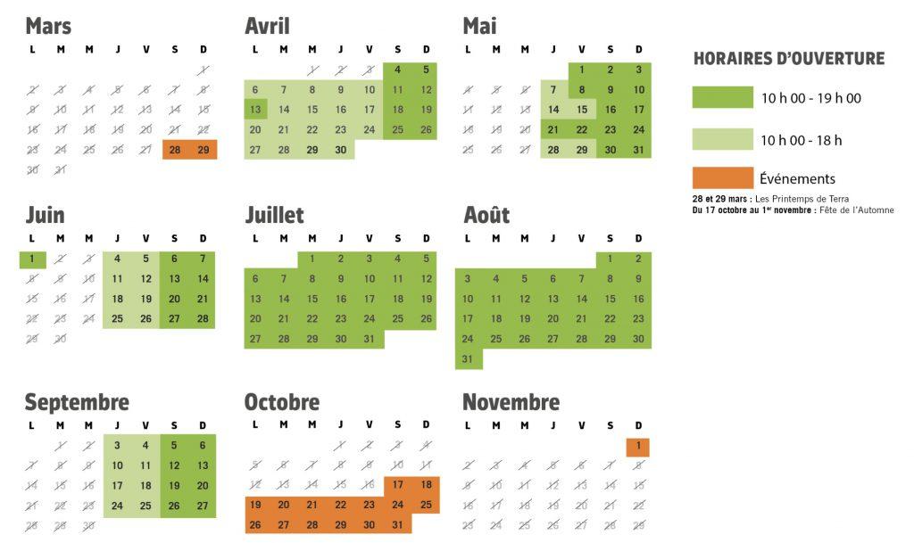 Dates d'ouverture et horaires Terra Botanica, le calendrier