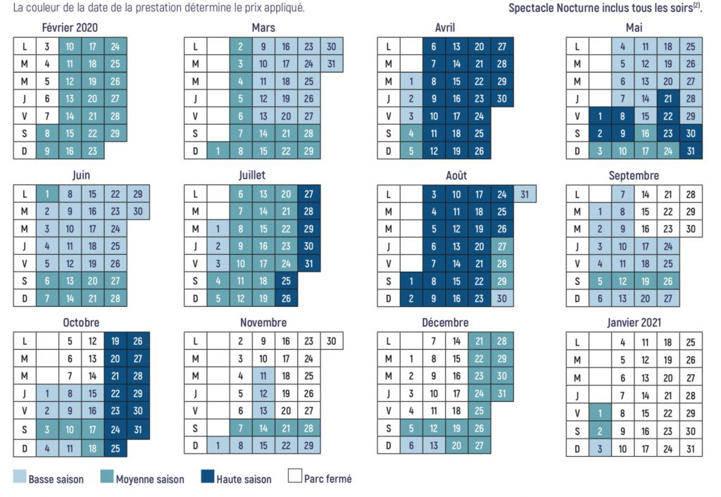 Dates d'ouvertures et horaires Futuroscope 2020 et 2021