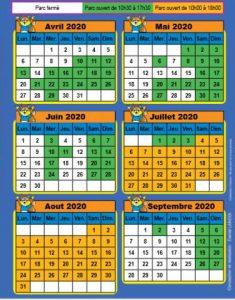 Calendrier dates ouverture didi'land 2020