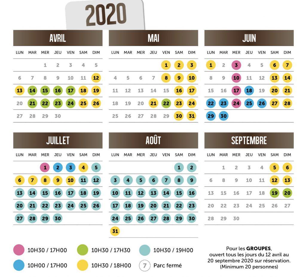 Dates d'ouverture parc Ange Michel - Calendrier