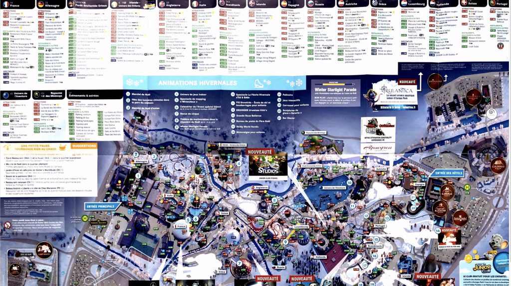 Plan parc Europa Park liste attractions