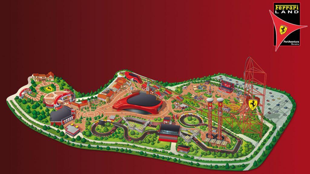 plan parc Ferrari Land et attractions