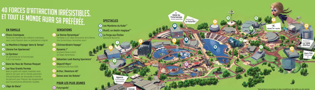 Plan attractions Futuroscope 2020