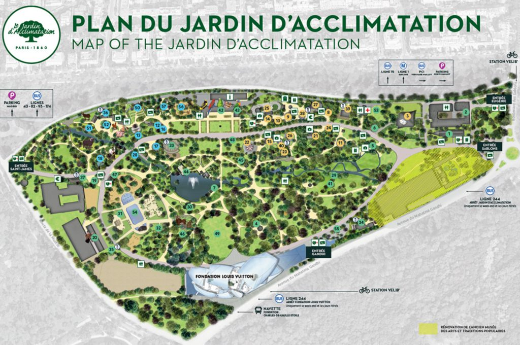 plan jardin acclimatation liste attractions