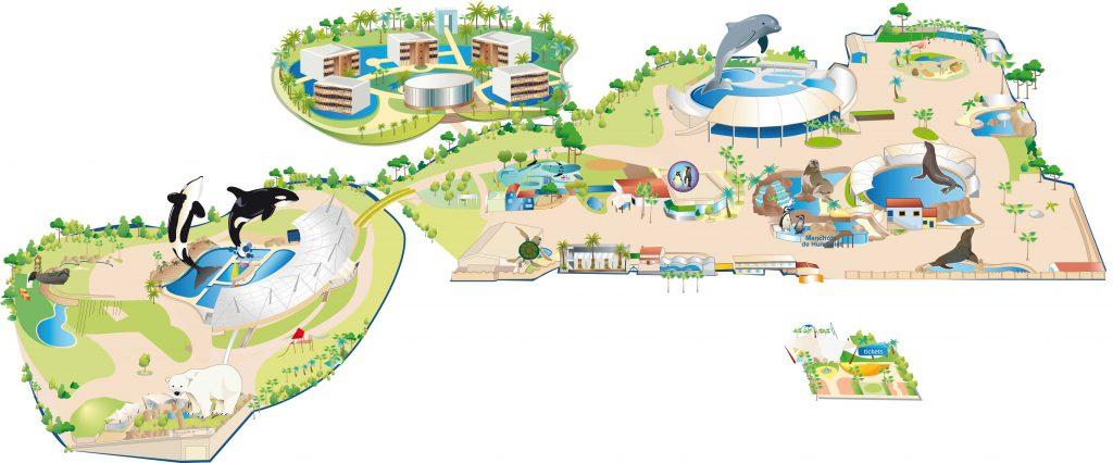Plan Marineland et parcs alentours