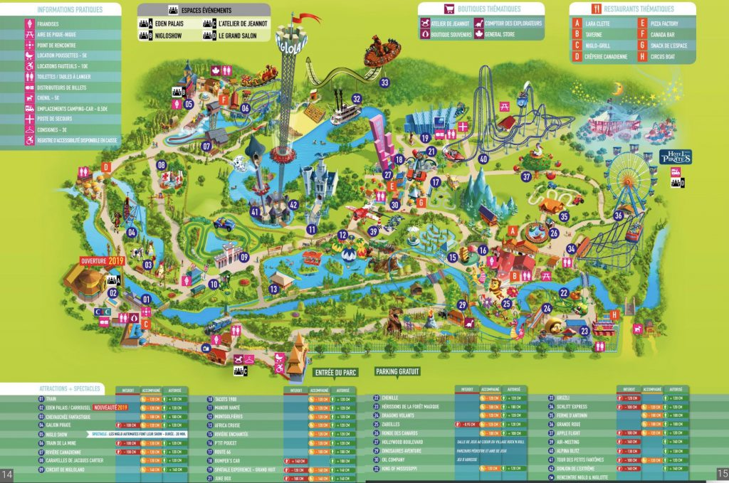 plan nigloland et attractions, restaurants