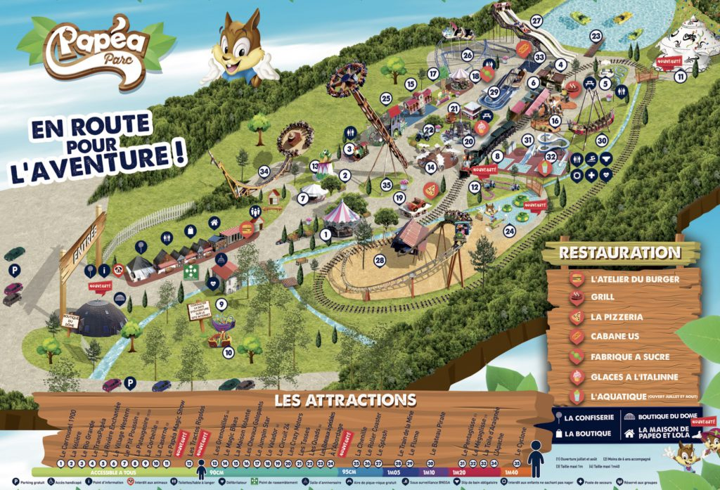Plan attractions Papea Parc