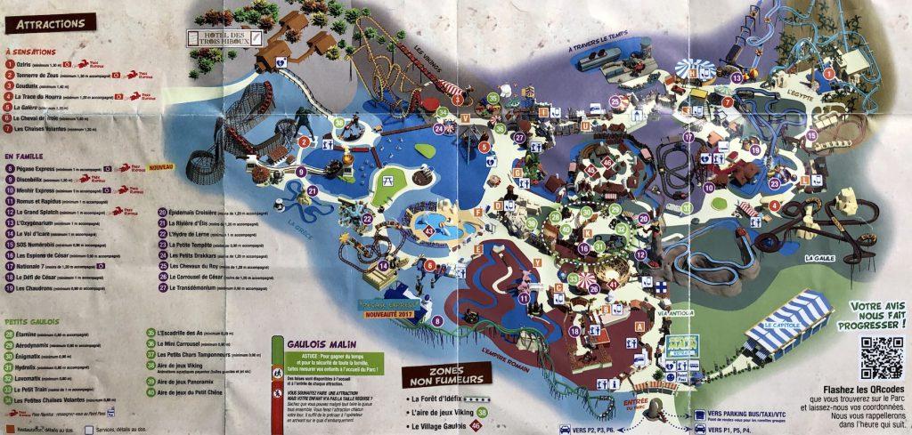 plan du parc astérix : principales attractions