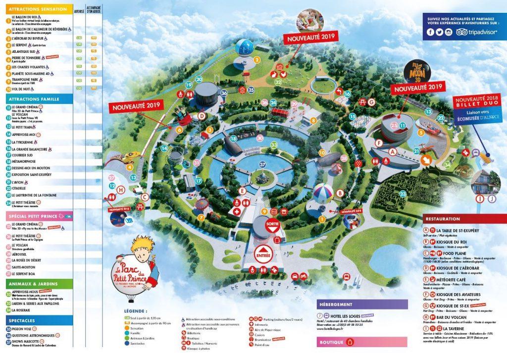 Plan Parc du Petit Prince et liste attractions