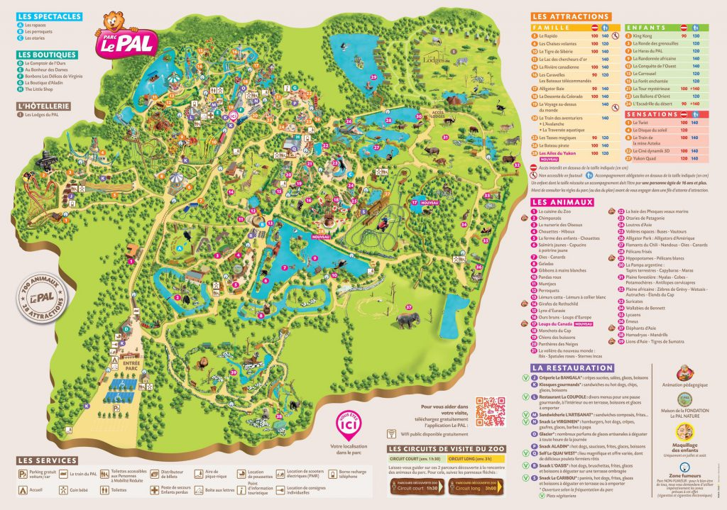 Plan des attractions du parc Le Pal