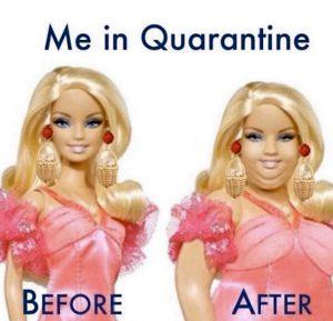 comique : blague de barbie grosse apres confinement en image