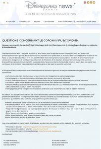 communique officiel disneyland paris euro disney coronavirus covid 19 et employe malade protetion visiteurs