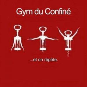 Apéro, la gym du confiné en une image drole