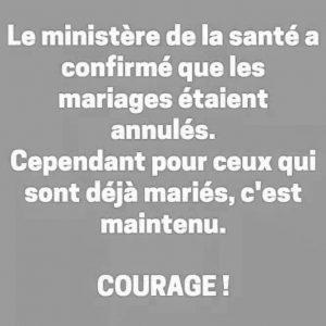 mariage annulé cause confinement blague et humour meme lol
