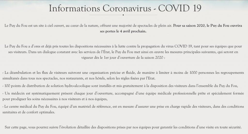 Le Puy du Fou et coronavirus : sejours, ouverture, fermeture, mesures