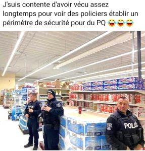 policier doivent proteger papier toilette photo humour coronavirus