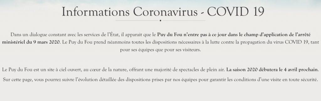Impact coronavirus covid 19 sur ouverture et sejours spectacles du Puy du Fou