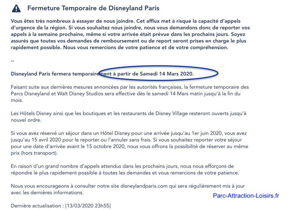 Quelle date reouverture parc euro disney land paris