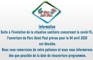 date re ouverture parc saint-paul 2020