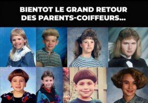 photo coupe de cheveux faites par parents pendant confinement meme marrant