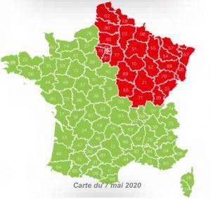 carte couleur departements rouge vert deconfinement pour ouverture des parcs attraction et loisirs