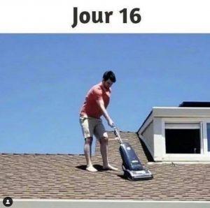 mec sur son toit avec aspirateur : meme confinement