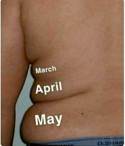 Les stigmates du confinés se lisent sur les bourelets, mois par mois ! Il parait que les français ont pris 2,5kg durant le confinement