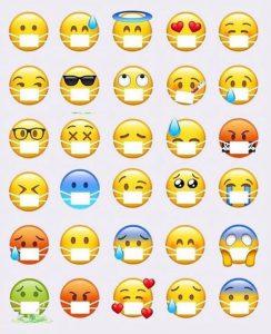 nouveaux emojis emoticones avec masques photo liste