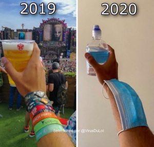 2020, année pourrie gel et masque au lieu bière blague covid