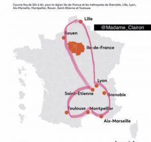 carte de france des villes en urgence et couvre-feu carte avec points à relier marrante