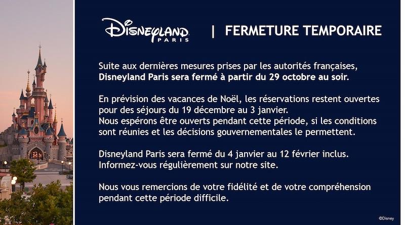 date fermeture disneyland paris 2020 reconfinement noel