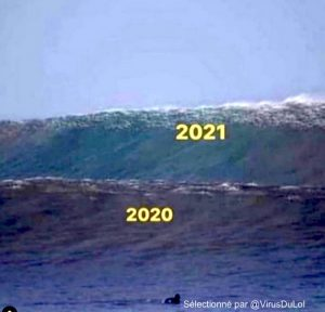 deuxieme vague covid-19 qui débarque meme photo avec deux vagues