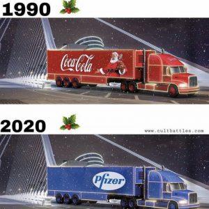 Noel dans les années 90 vs Noël 2020 ... photo camion Coca-Cola / camion Pfizer humour