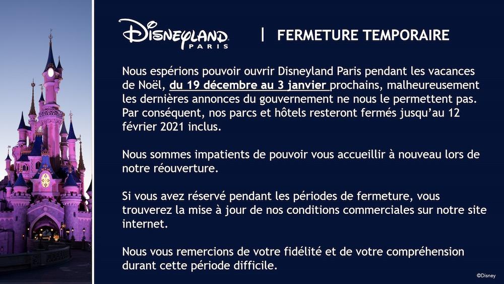Disneyland fermé à Noël 2020 et 1er janvier, conditions de remboursements
