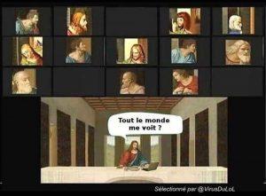 rigolo télé-travail : photo jesus la cène avec ses apôtres en vio conférence zoom