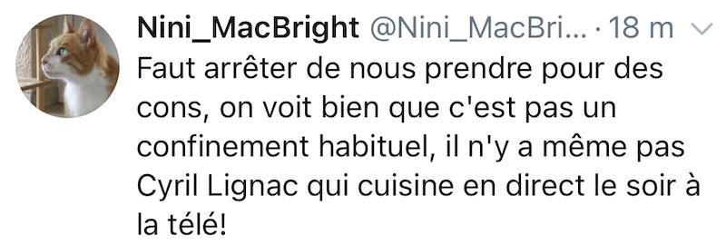 On voirt bien que ce n'est pas un vrai confinement, il n'y a même par Cyril Lignac qui cuisine le soir à la télé