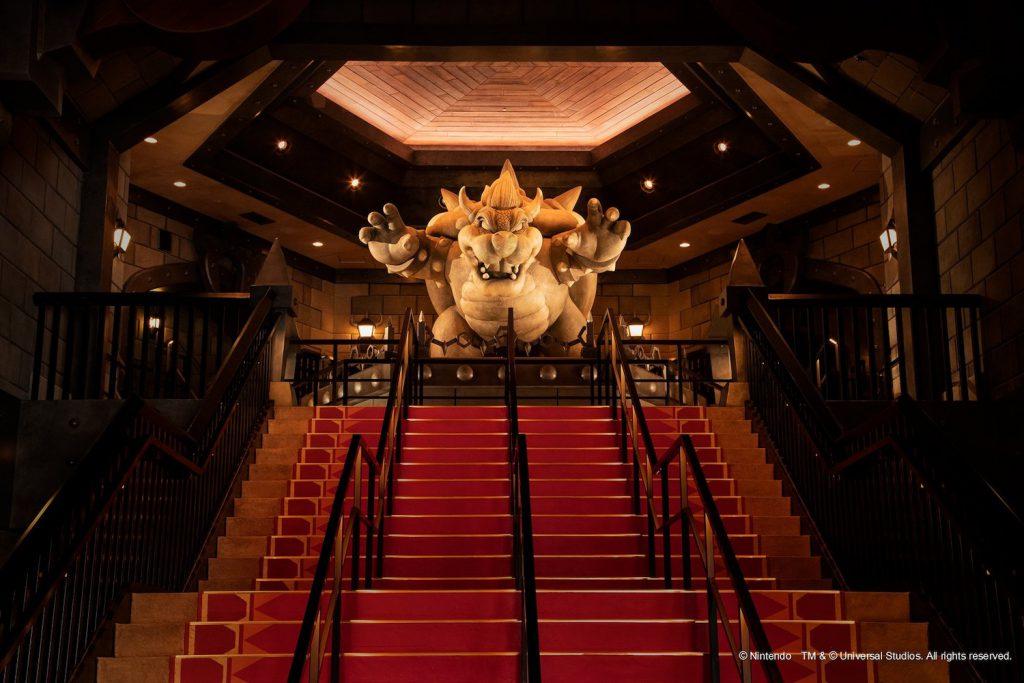 photo d el'entrée parc attraction super nintendo world bowser