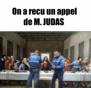 image drole couvre-feu tableau celebre la cene avec jesus et les apôtres, contrôle de gendarmerie plus de 6 à table