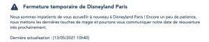 date re-ouverture Disneyland paris france