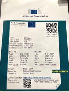 photo pass sanitaire anti-covid version papier tous antii covid