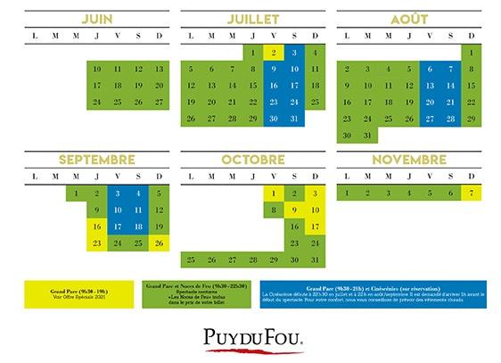 Calendrier et dates d'ouverture du parc du Puy du Fou