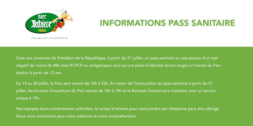 info pass sanitaire vaccin parc astérix