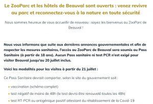 infos visite zoo beauval pass sanitaire 20 et après 21 juillet 2021