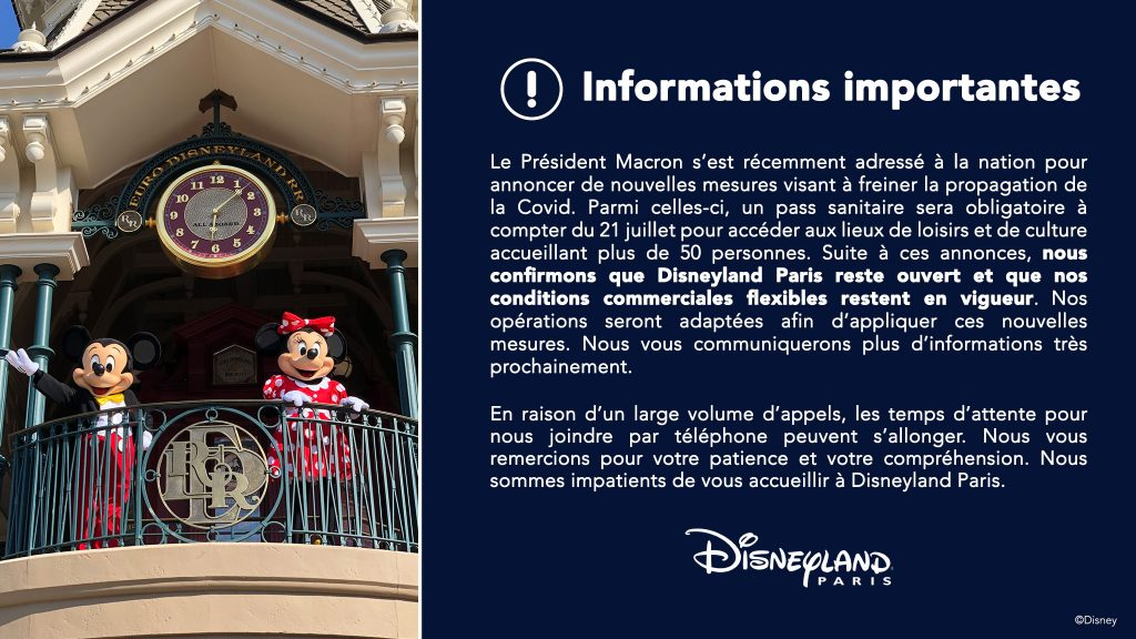 pass sanitaire obligatoire et visite Disneyland