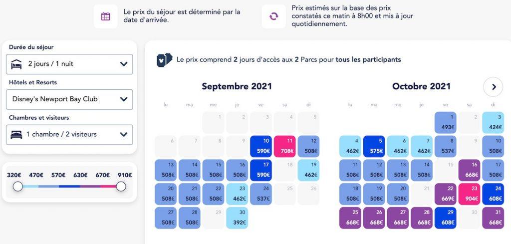 calendrier choix sejour petit prix famille disneyland paris